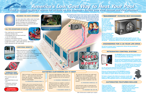 PCS3 solar pool heater brochure center fold spread