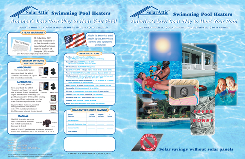 PCS3 solar pool heater brochure front-back spread
