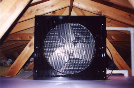 Picture of the attic solar pool heater inside of an actual attic.