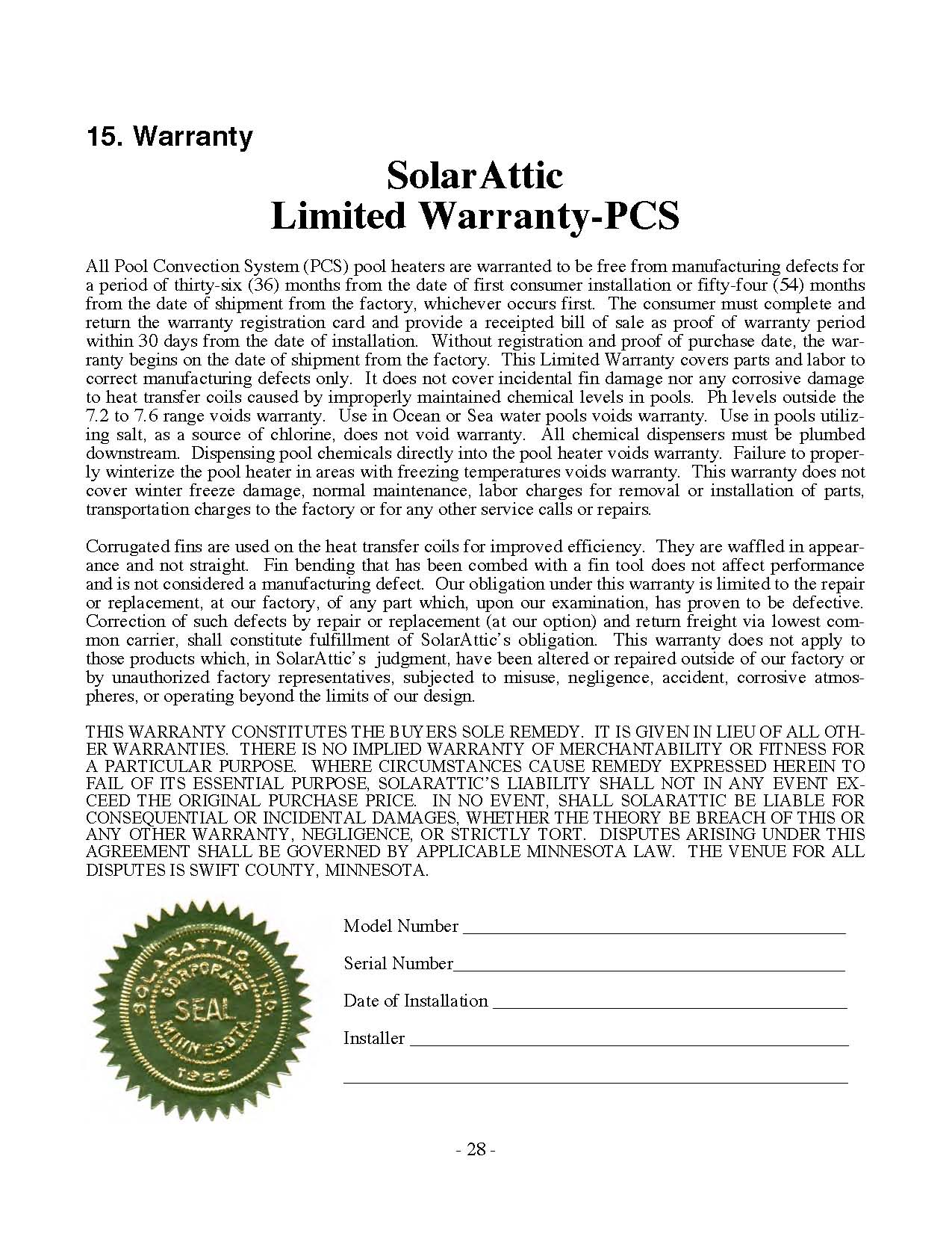 Image of the third generation attic solar pool heater model PCS3 Warranty Certificate